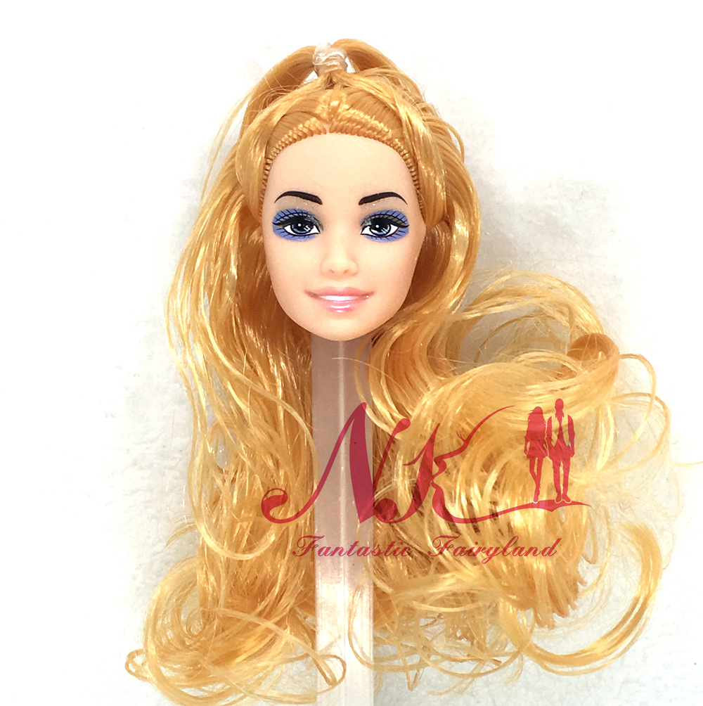 NK One Pcs Trend Doll Head With Lengthy Golden Hair DIY Equipment For Barbie Kurhn Doll Finest Woman' Reward Youngster DIY Toys 030C