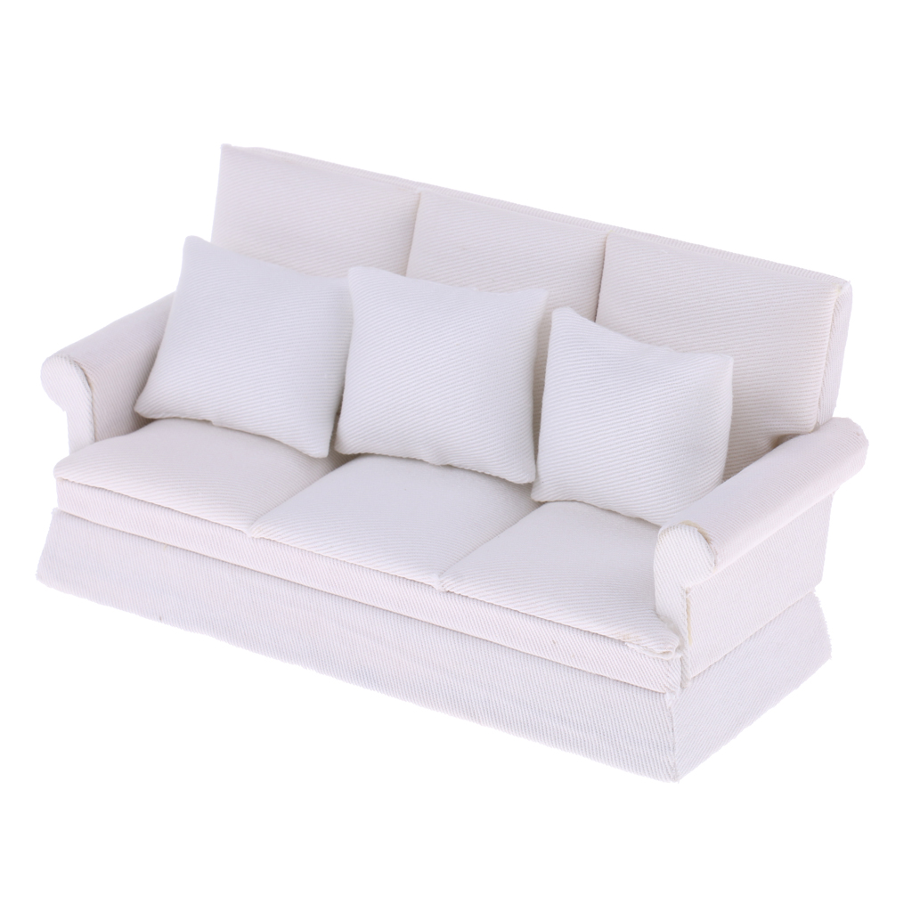 Modern White Wood Dolhouse Living Room Miniature Three-seat Couch Sofa w/ 3pcs Pillow Furniture Set for 1:12 Dollhouse Accessory
