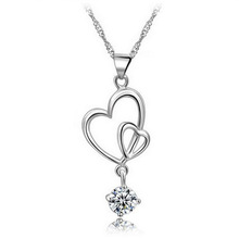 2016 New Simple Summer Style Double Heart Necklaces Pendants AAA Round Zircon Crystal Chain Necklace Women Bridal Jewelry Gifts(China (Mainland))