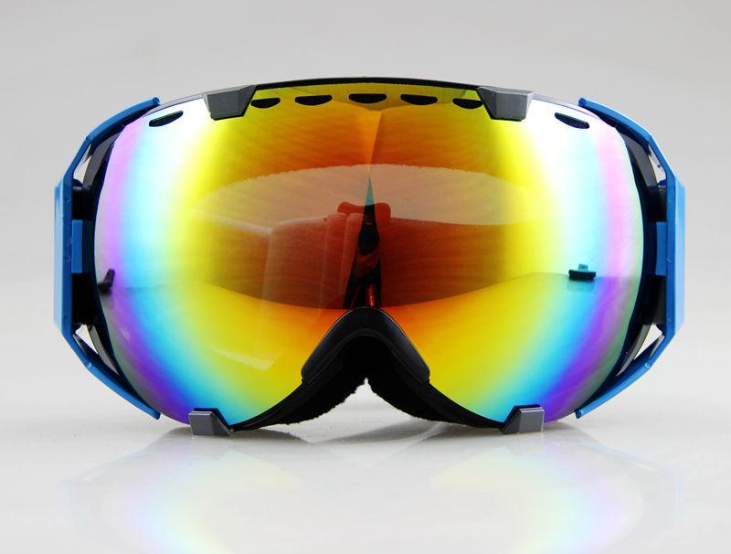 2015 NEW Brand Blue/Black Frame Coloured Double Lens adult ski snowboard goggles Discount ski goggles(China (Mainland))