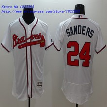2016 New #24 Deion Sanders Jersey Atlanta Braves Baseball Jerseys Flexbase Embroidery Logo M~3XL(China (Mainland))