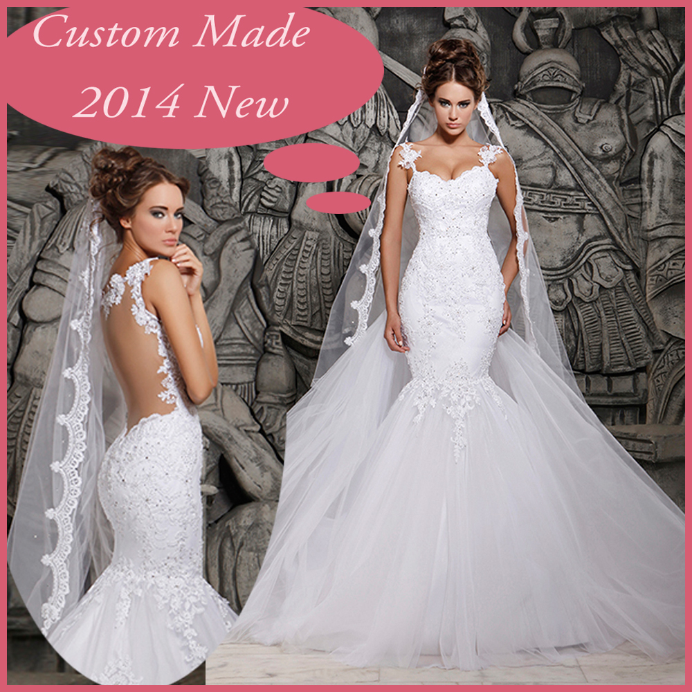 2014 Designers White Lace And See Through Mermaid Wedding Dresses With Removable Train Bridal Dresses Tulle MH-101(China (Mainland))