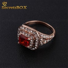 New Plated Rose Gold Austrian Crystal Ruby Rings Fashion For Women Men Best Gift for Anniversary