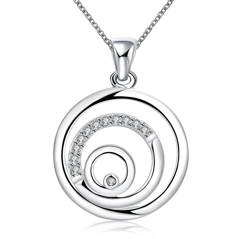 Italy High quality circels cz diamond jewelry silver plated pendants necklace with 45cm chains for women drop ship wholesalers(China (Mainland))
