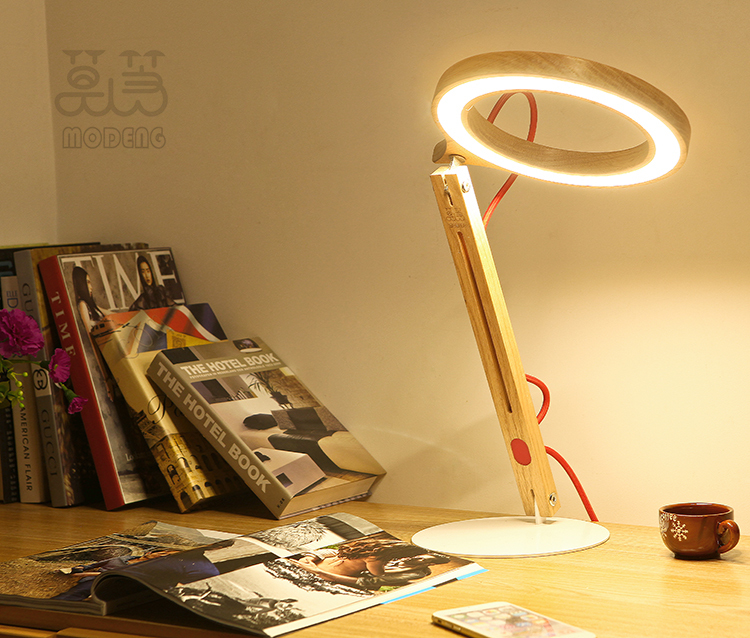 Hot sale Simple & Elegent style eye protect Led Oak wood lamp environmental light for office and study room(China (Mainland))