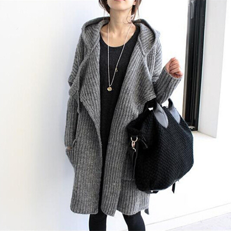 Sweater Coat With Hood