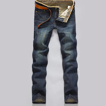 Men Autumn Winter Jeans Causual Pants Pockets Thick Warm Modern Straight Fell length Clothes Brand Slim Solid Popular Tops hot