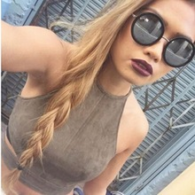2016 New Summer Style Sexy Lace Up Women Cropped Tanks Tops Vest Camis Cute Sleeveless Suede Bodycon Bandage Crop Tops Camisole(China (Mainland))