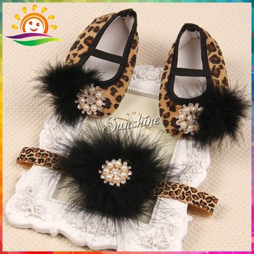 Cheetah print shoes baby ballerina girl sapatinhos de bebe menina leopard booties;feathers headband set Free #2B1916 3 set/lot(China (Mainland))