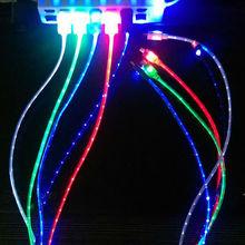 Livraison gratuite 5 couleurs Visible Micro Light Up LED chargeur Data Sync câble pour iphone5 5S 6 Hot vente(China (Mainland))