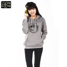 2015 Women'S Clothing Hoodies Sweatshirts BTS Hoodie Cotton Black Red Grey Hoody Sweatshirts Women Hoodies(China (Mainland))