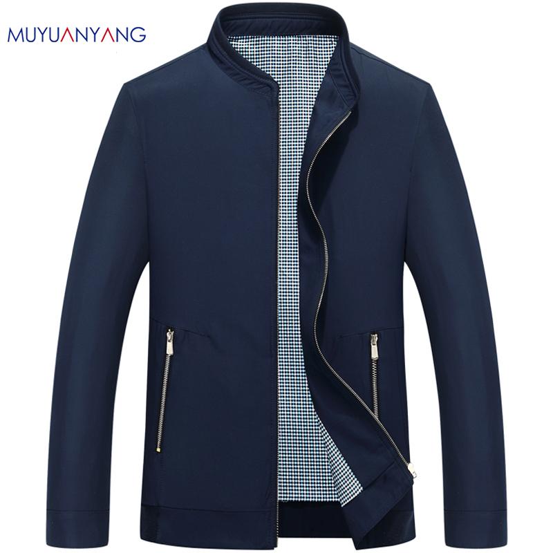 Mu Yuan Yang Men's Jacket 2017 Autumn Casual Mens Jackets And Coats Spring Man Jackets Solid Stand Collar Outerwear & Coats(China (Mainland))