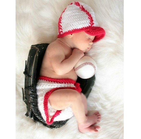 2015 Rushed New Arrival Hat Baby Fashion Newborn Boys Crochet Knit Costume Baseball Boy Style Photo Photography Prop Outfits(China (Mainland))