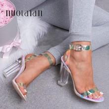 2019 Sandali Delle Donne Scarpe Celebrity Indossare Stile Semplice PVC Trasparente Trasparente Con Il Cinturino Fibbia Sandali Degli Alti Talloni Scarpe Donna(China)