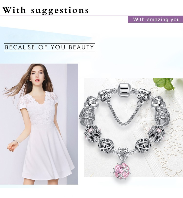 European Style Authentic Tibetan Silver Pink Crystal Beads Fit Pan Charm Bracelet for Women DIY Beads Jewelry Christmas Gift