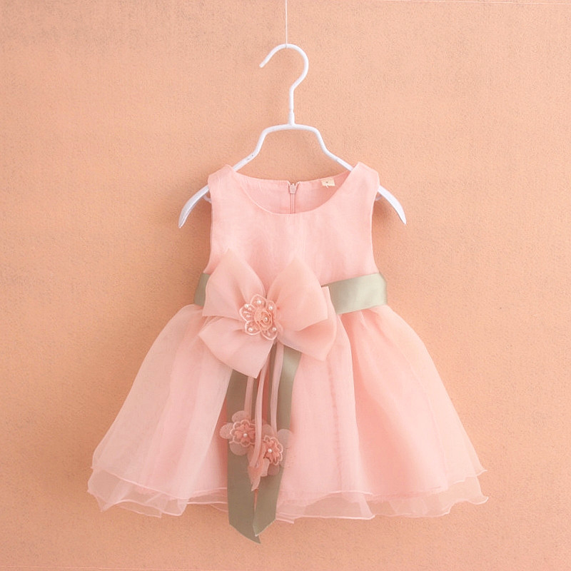 HOT New Princess Flower Girl Dresses Hot Pink Big Bow Baby Party Dress for Wedding Vestidos Infantis Baby Clothes 0-2 Years(China (Mainland))