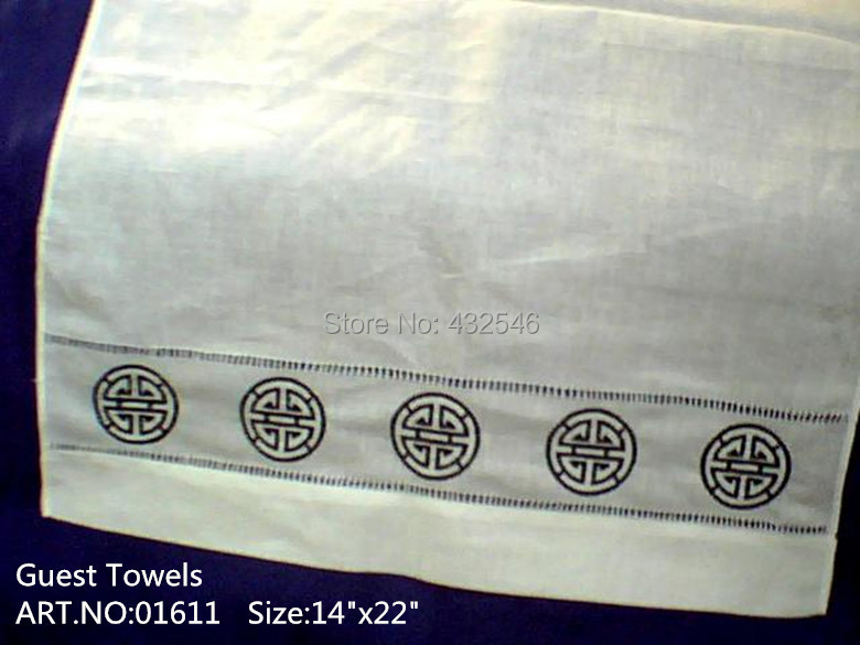 """FOB:US$115.00/48PCS.Size14""""X22""""White Linen Hand towel with embroidery Floral Design.Home decoration makes any guest feel welcome(China (Mainland))"""