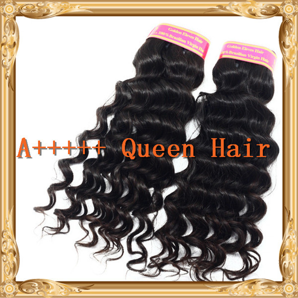 A+++++ Queen hair products brazilian curly hair extensions mixed length 3 or 4 pcs lot free shipping queen deep wave hair(China (Mainland))
