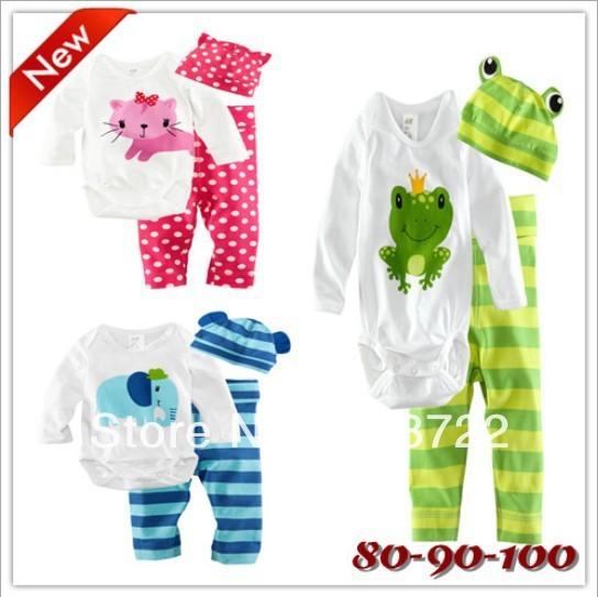 Autumn new design baby boys girls cartoon animal suit frog cats elephant long-sleeve romper + pants + hats 3pcs set infant wear