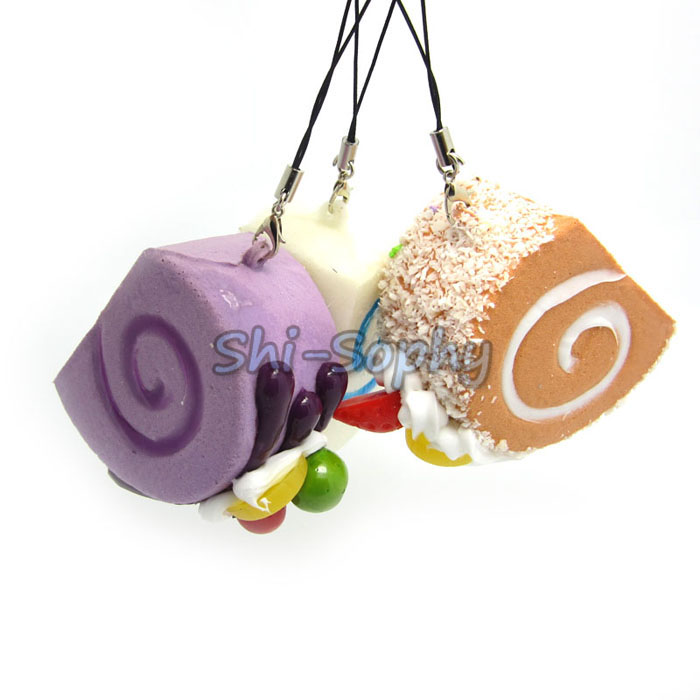 1Pc Cute Squishy Bread Fruit Roll Food Cell Phone Charm Bag Key Strap Kid Toy(China (Mainland))