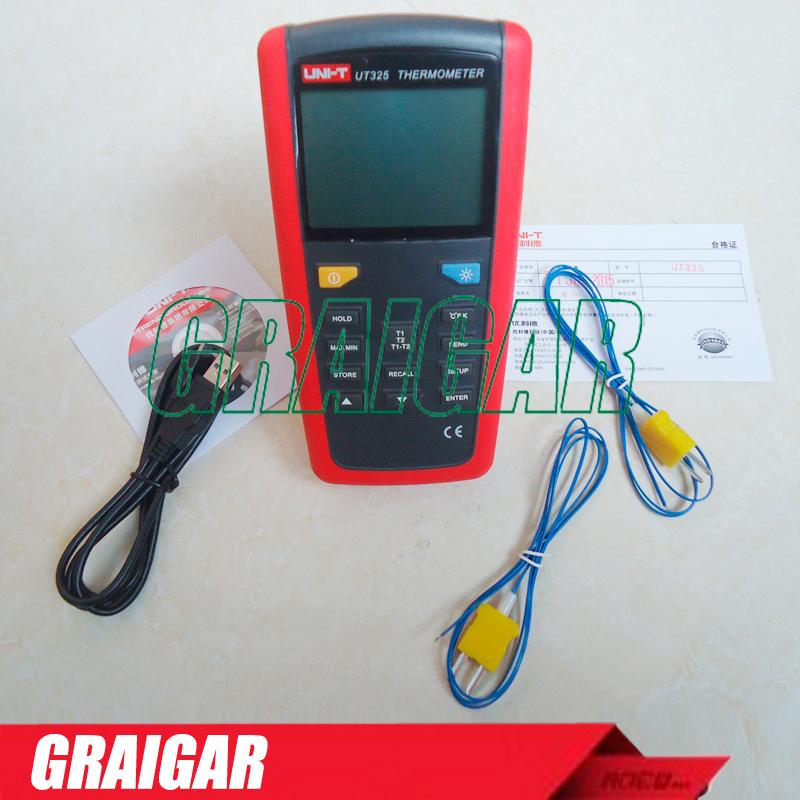 Uni-t UT325 termômetro medidor de temperatura Tester T1-T2 dupla entrada de alta / baixa de alarme e Auto calibração(China (Mainland))