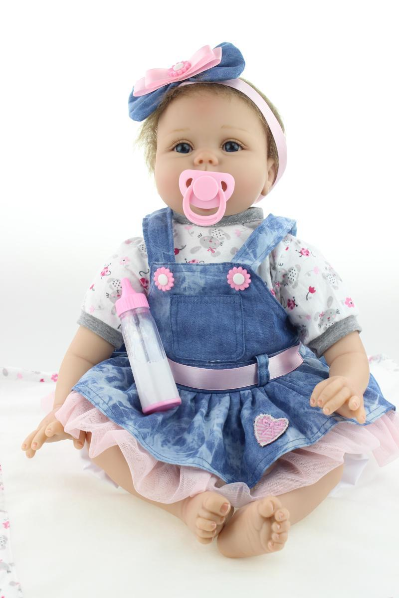 Silicone reborn baby boy doll toys for girl, about 55cm babies cotton toy girl brinquedods have blue and brown eyes<br><br>Aliexpress