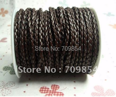 free shipping!!! 100meters /per roll braided Authentic leather cord 3mm ****ac(China (Mainland))