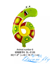 NEW Free Shipping 19inch Animals number 6 balloon Digital Number Figure Balloon for Party Decoration 50pcs/lot