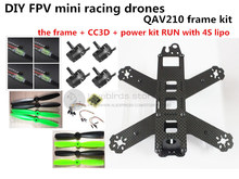 DIY mini drone QAV210 / ZMR210 FPV race quadcopter pure carbon frame kit CC3D + EMAX 2204II KV2300 motor + BL12A ESC RUN with 4S