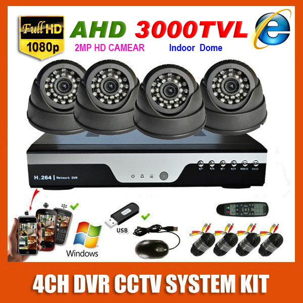 4 Channel Home HD 1920*1080P AHD 3000TVL Video Surveillance Indoor Mini White/Black Dome CCTV 4CH 2MP Security Camera System Kit(China (Mainland))