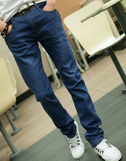 Men Jeans Slim Fit light blue men's jeans stretchy jeans zipper personality Straight Casual brand name jeans J108(China (Mainland))