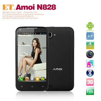 Amoi N828 Smart Phone 4.5 inch Android 4.2 MTK6589 WCDMA 3G 1GB RAM Dual camera 8.0MP GPS Dual SIM