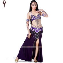 Belly Dance Costume (Bra+Belt+Skirts) Bellydance Wear 10colors Dancing Clothing Set Sexy Bollywood Costumes - Chaozhou Queen Garment co., LTD store