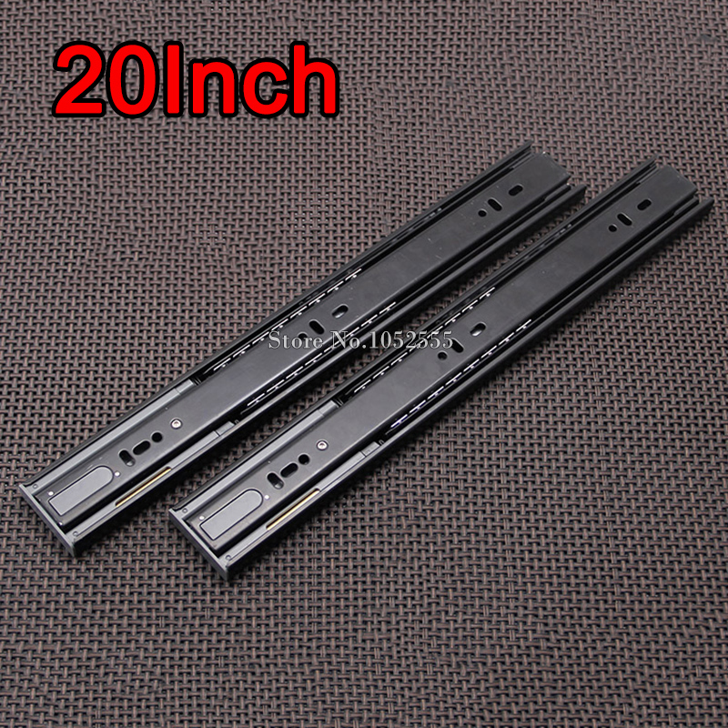 "1Pair=2PCS High Quality 20"" 3-fold Steel Ball Bearing Telescopic Cabinet Drawer Runners Slide Rails Furniture Accessories E191-6(China (Mainland))"