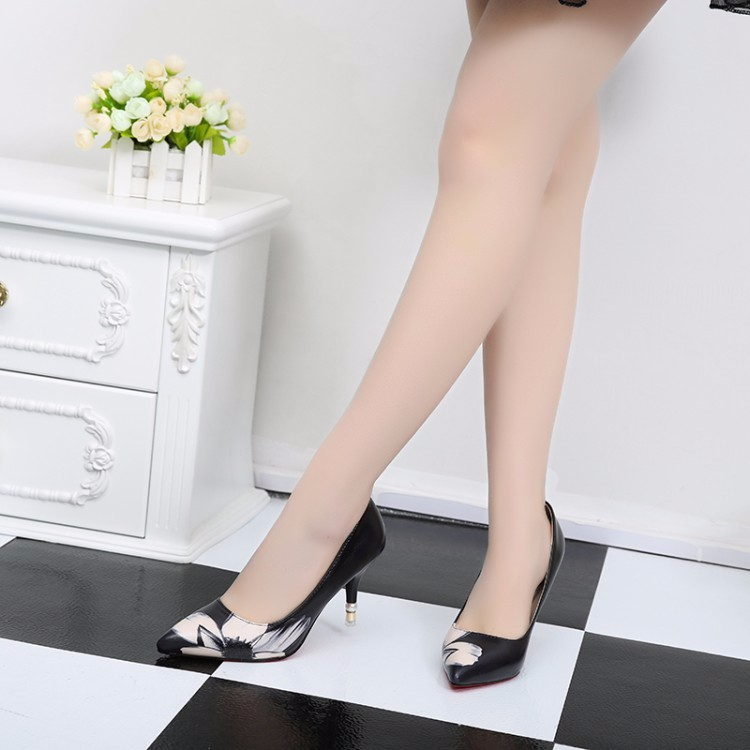 2016 New High-heeled Pumps Women Shoes High Heels White Black Printing Shallow Mouth Thin Heel Pointed Toe Shoes For Women ZK3.5