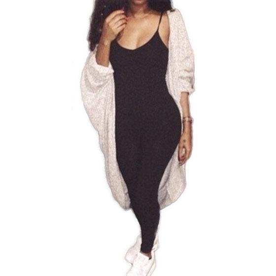 celeb spaghetti straps long bodycon one piece jumpsuit women sexy black romper new 2015 sexy club bodycon bandage jumpsuit L300(China (Mainland))