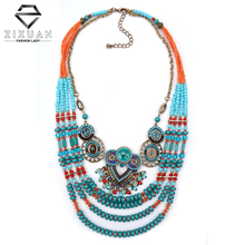 2016 New Fashion Bohemian Necklace Multilayer Colorful Beads Bib Necklaces Turquoise Collar Crystal Statement Ethnic Necklaces(China (Mainland))