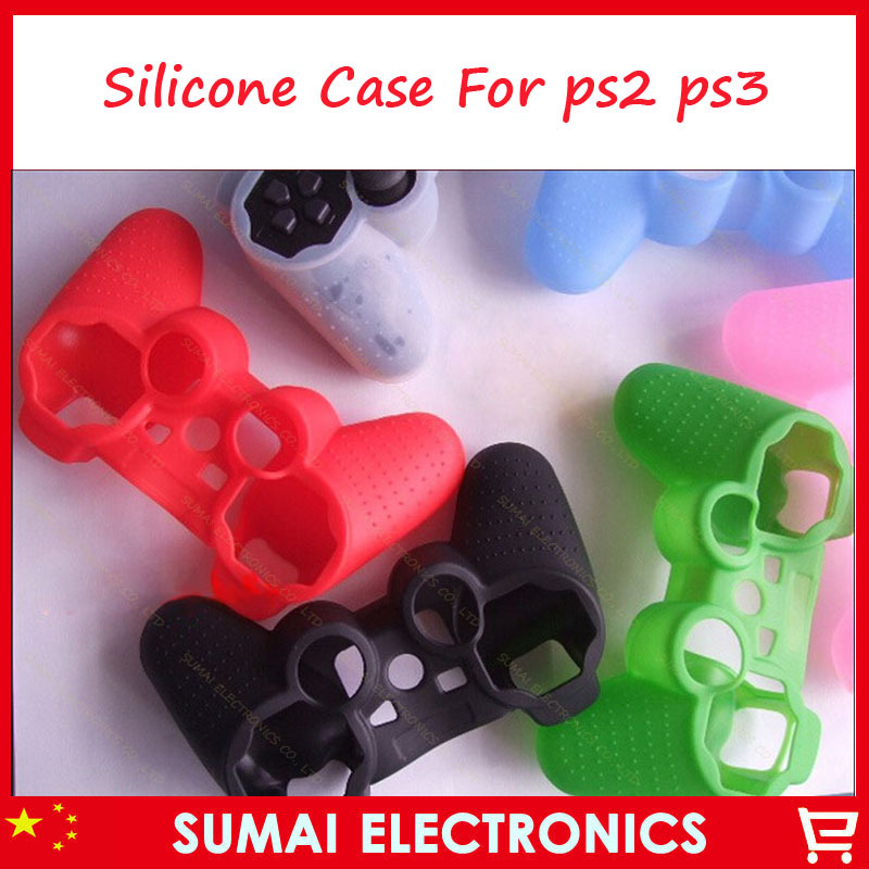 50pcs Silicone Case Skin Cover For Sony PS3 PS2 Controller(China (Mainland))