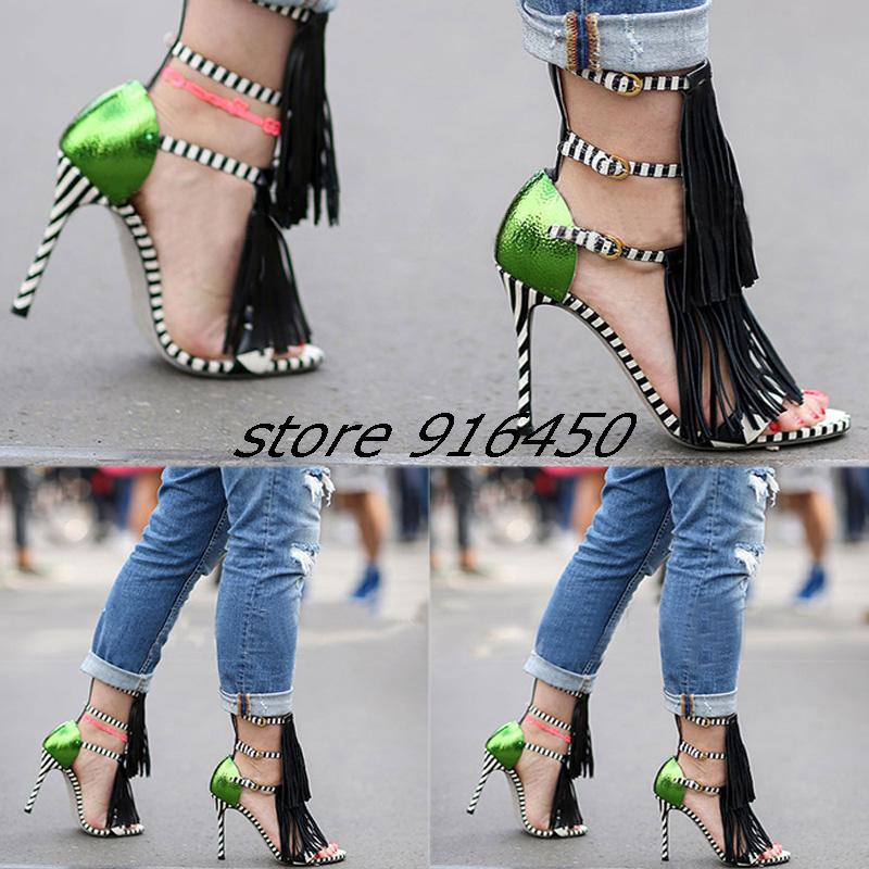 10CM Women's Fashion Lindy tassels High Heel Shoes Ladies Sexy NightClub Platform Stripe Pumps Elegance Open Toe Green Sandals(China (Mainland))