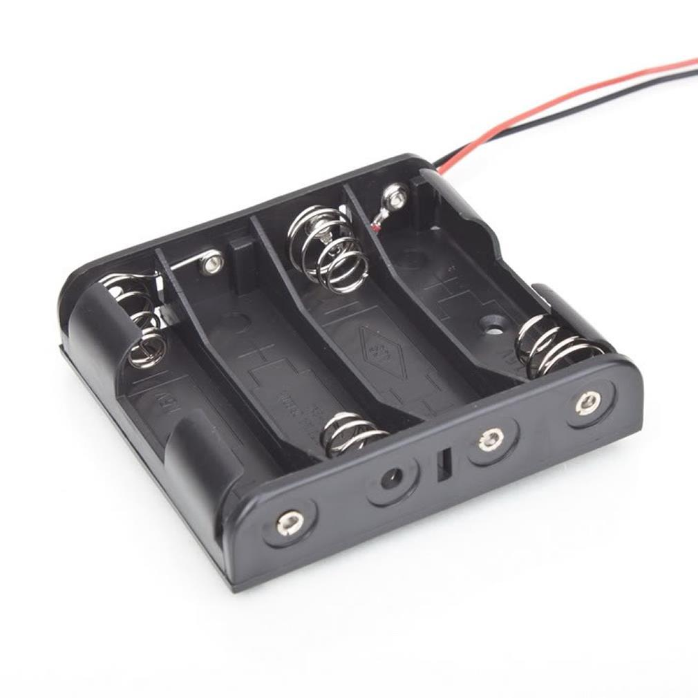 Battery Box Slot Holder Case for 4 Packs Standard AA 2A Batteries Stack 6V