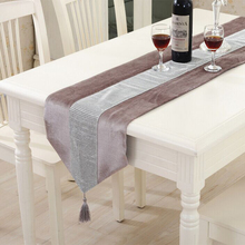 Modern Table Runner Flannel Diamond Table Marriage Runners Chirstmas Decoration Purple Golden  Table Runner(China (Mainland))