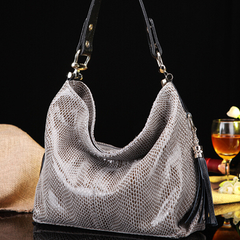 Luxurious Snake Grain First Layer Cowhide Women Handbags Designer 100% Genuine Leather Shoulder Bags With Tassel SN1505