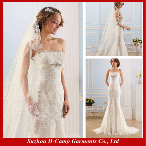 Free shipping wd 1430 strapless fit and flare latest for Sexy fitted wedding dress