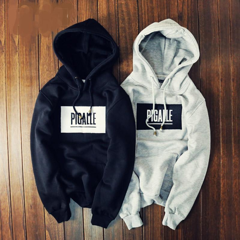 2015 Winter Brand Cloting High Street PIGALLE Hoodies 3D Embroidery Fleece Lining Sweatshirt Hoody Sportswear Box