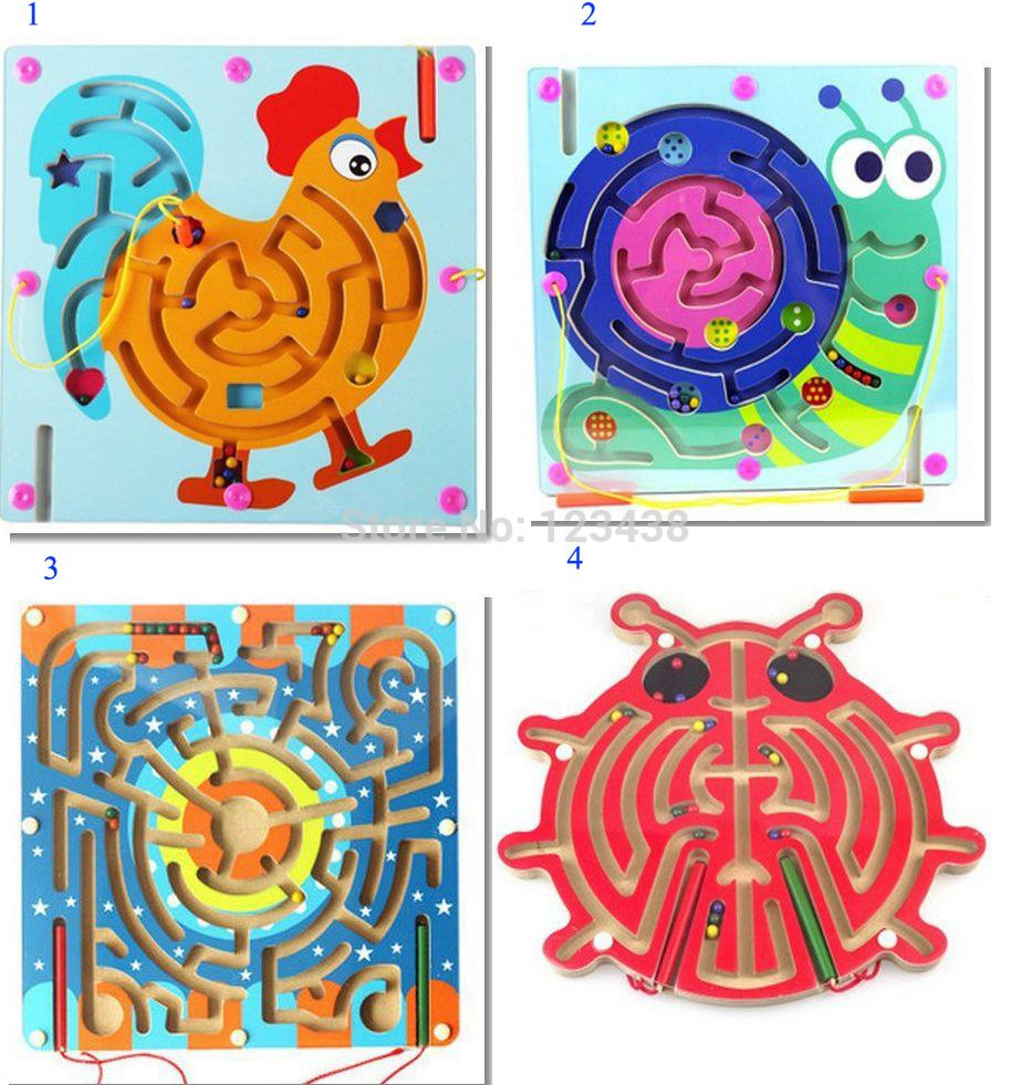 Magnetic Wand Wiggles and Worms Marbles Through Wooden Animal Maze Educational Kids Parent & Children Family Game Toys(China (Mainland))