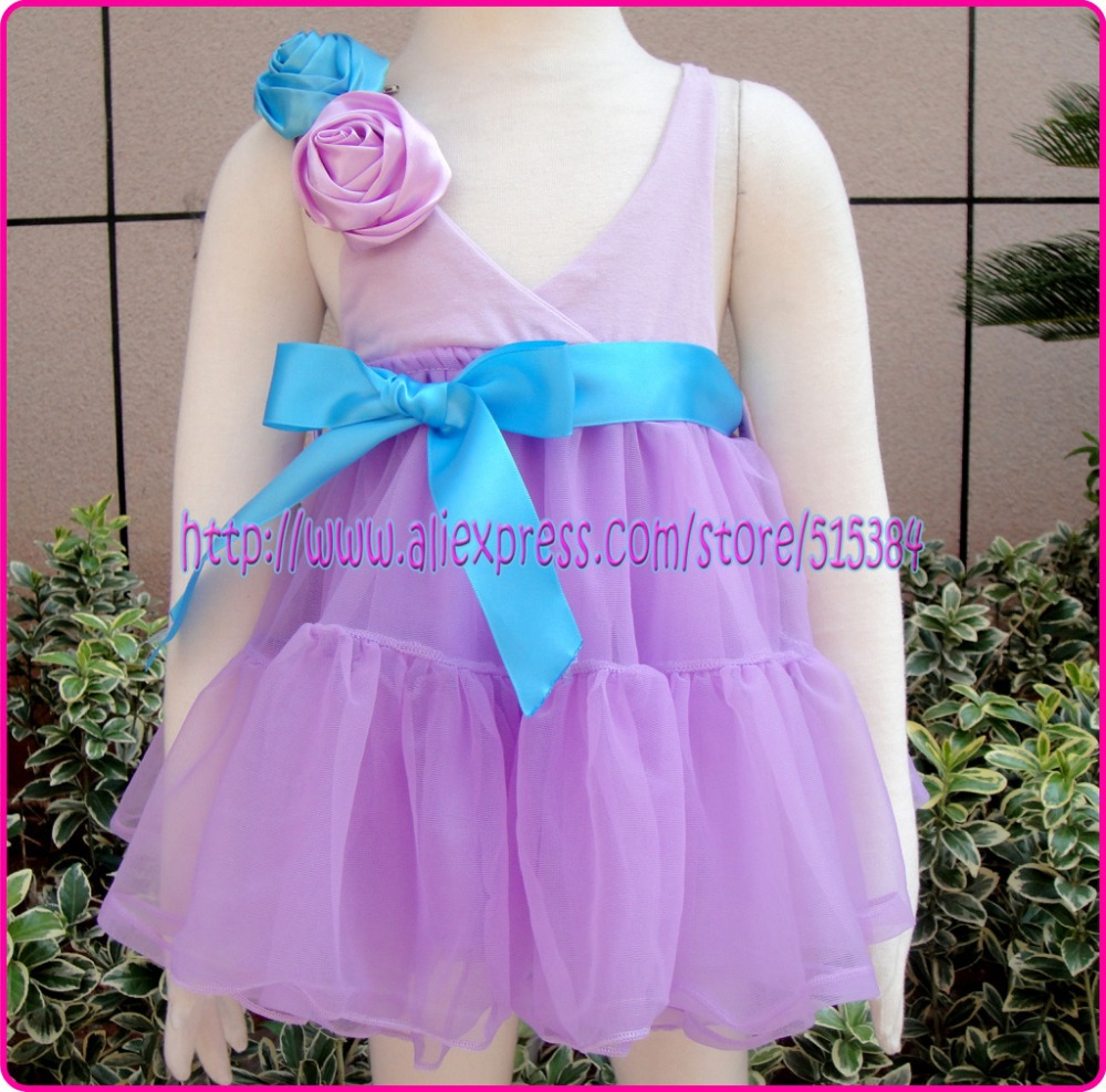 5pcs/lot free shipping baptism christening gown lavendar flower wedding tutu dress kids evening gowns baby birthday dress gift<br><br>Aliexpress