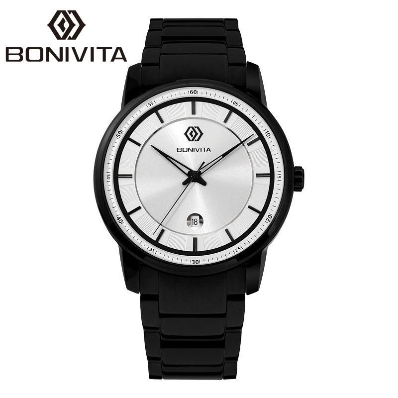 BONIVITA Luxury Brand Watch Original Top Quality Quartz Fashion Wristwatches Full Steel Business Casual Watches Men Watches(China (Mainland))