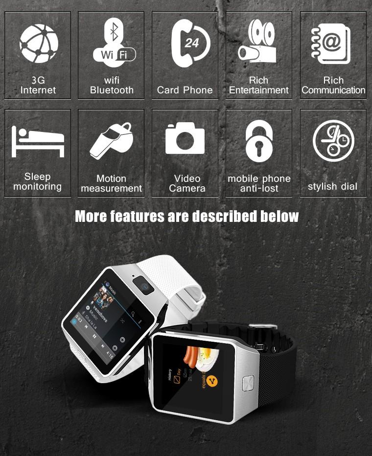 QW09 Smart Watch Android Wifi 3G Smart Wacht Bluetooth 4.0 Wristwatch MTK6572 Dual Core 512MB/4GB Pedometer Smartwatch Phone B02