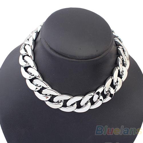 Fashion Jewelry statement necklace Punk Style Cut Link Shiny Chain Choker Necklace 038Y(China (Mainland))