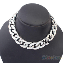 Min. 1pc Golden Silver Color Aluminium Chunky Chic Curb Chain Choker Anklet Foot Bangle Bracelet Necklace for Party Sexy Dress